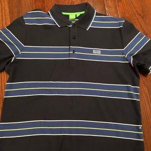 Men's Hugo Boss Polo Shirt- Dark Blue Striped